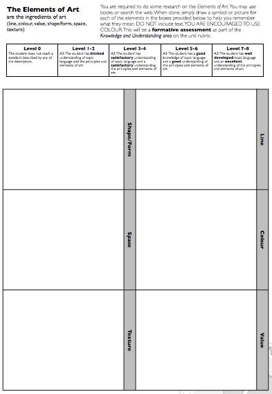 Elements Of Art Worksheet Checks Worksheet
